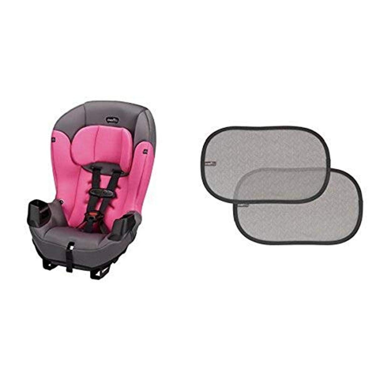 Evenflo Sonus Convertible Car Seat, Strawberry Pink with 2 Piece Car Window Cling Shades, Grey Chevron