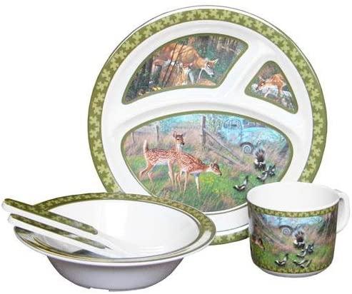 Wild Wings Children's 5-Piece Melamine Tableware Set Featuring Deer