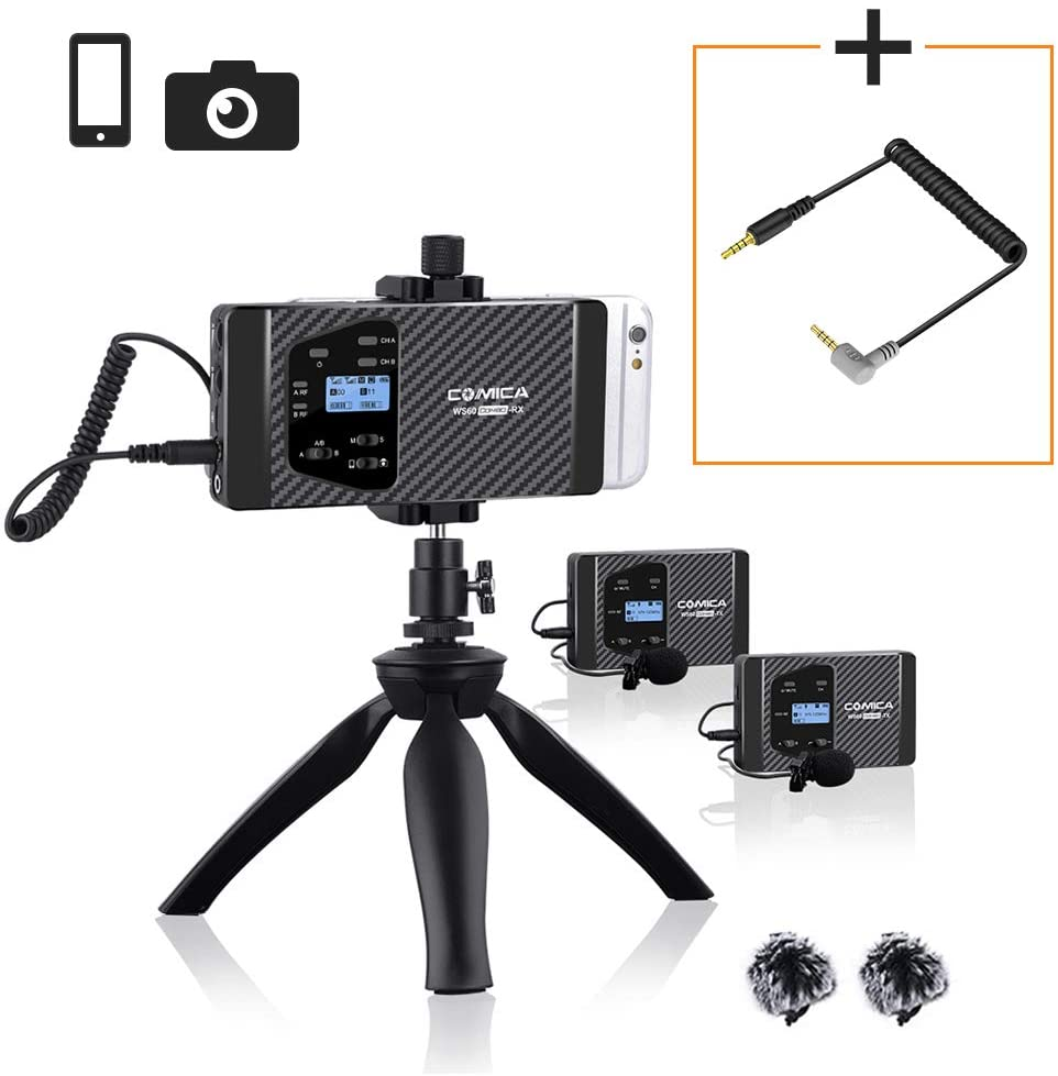 Wireless Lavalier Microphone,Comica CVM-WS60 Combo Compact Wireless Lapel Microphone System for iPhone,Samsung Huawei Smartphone Camera,Recording Mic for Podcast Interview YouTube Facebook Live-steam
