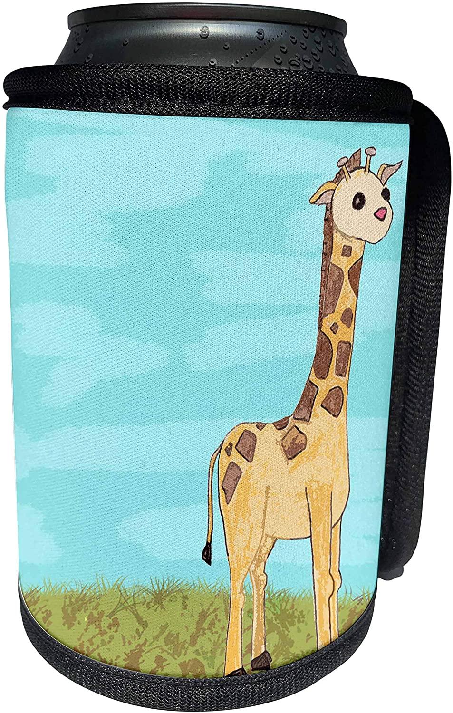 3dRose Janna Salak Designs Jungle Animals - Cute Painted Baby Giraffe - Can Cooler Bottle Wrap (cc_24618_1)