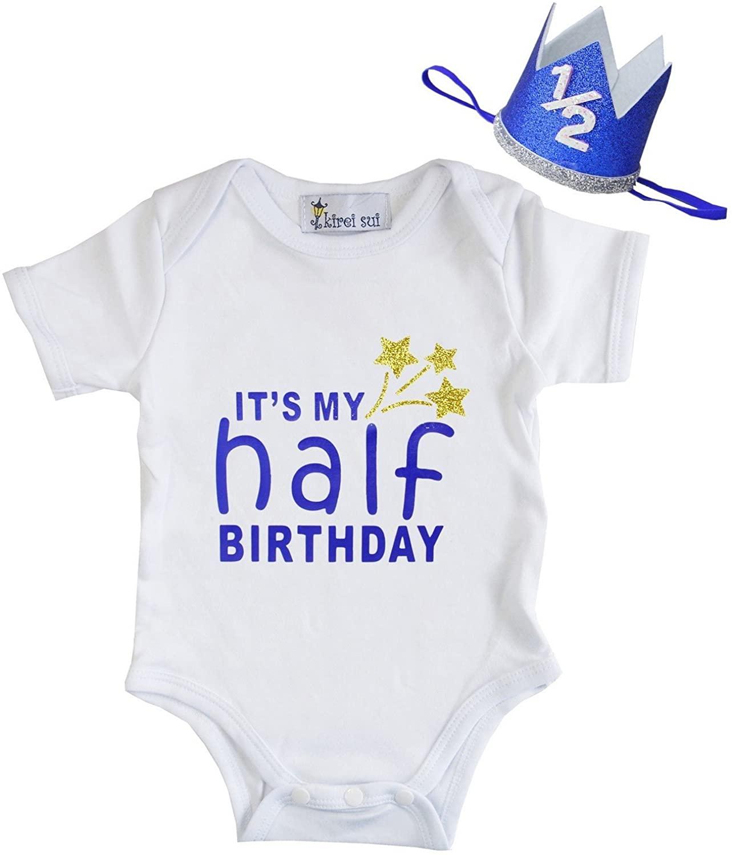 Kirei Sui Baby Boys Blue Half Birthday White Bodysuit