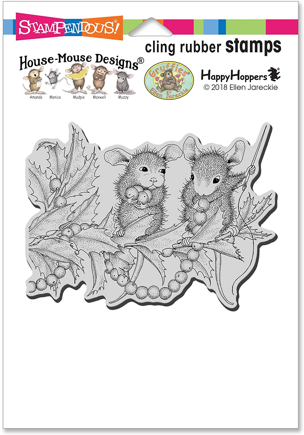 Stampendous House Mouse Cling Stamp-Stringing Berries