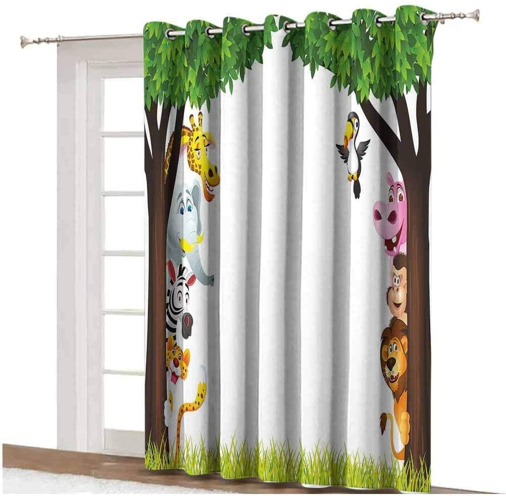 Nursery Sliding Door Curtain Big Trees and Friendly Jungle Safari Animals Wilderness Tropical African Wildlife Thermal Backing Sliding Glass Door Drape ,Single Panel 80x84 inch,for Patio Door Multicol
