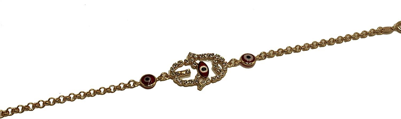 Diamantados of Florida Evil Eye with Hamsa Hand Red 18k Gold Plated Bracelet 7 inch - Red Evil Eye Bracelet