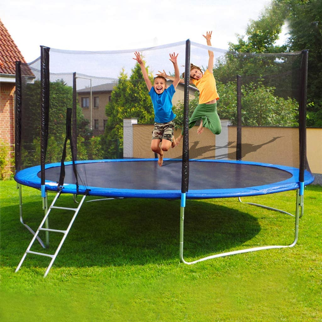 Trampoline Combo, 12 FT Kids Trampoline with Enclosure Net and Spring Cover Padding, Outdoor Jumper Trampolines for Family School Entertainment for Kids Garden Workout