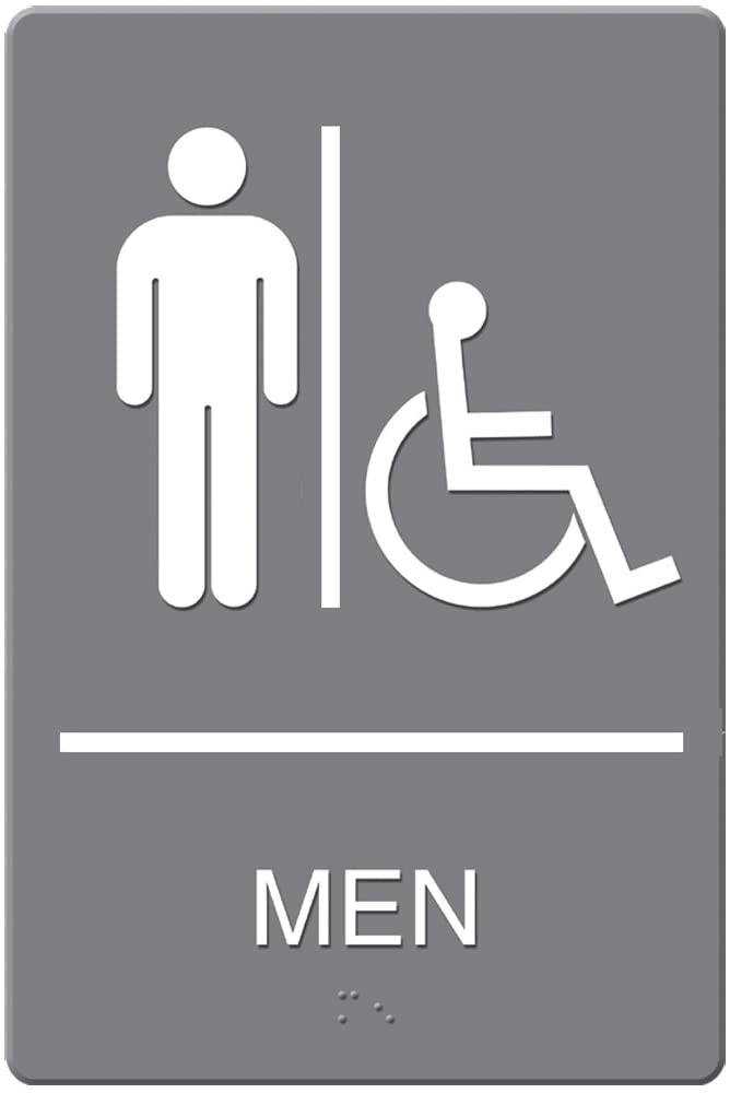 Headline Sign ADA Sign, Men Restroom Wheelchair Accessible Symbol, Molded Plastic, 6 x 9 Inches, Gray