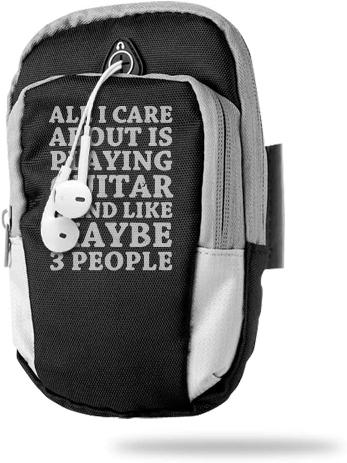 Sports Arm Bag Free Gym Phone Armbands Cell Phone Arm Holder All I Care About is Playing Guitar! Pouch Case with Earphone Hole for Running for Men Mini Shoulder Bag Travel Women Kids Handbag