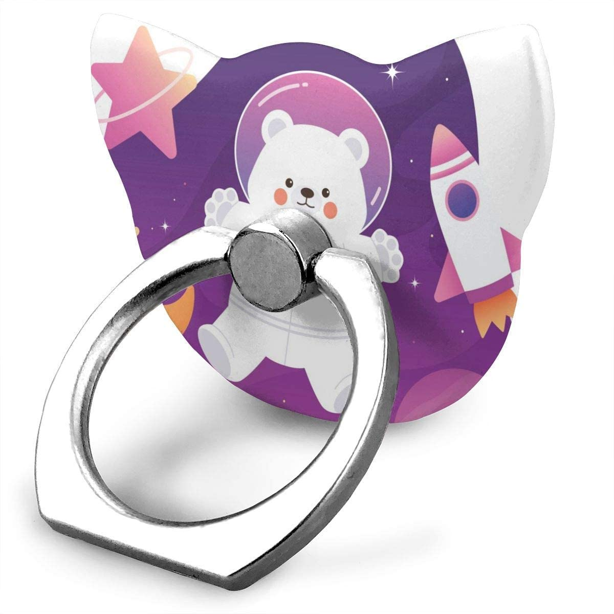 Cat Cell Phone Ring Holder Cat Blue Eyes Cat Ring Holder Phone Ring Stand Finger Kickstand 360° Rotation Compatible with All Smartphones Cartoon Polar Bear Galaxy SpaceOne Size