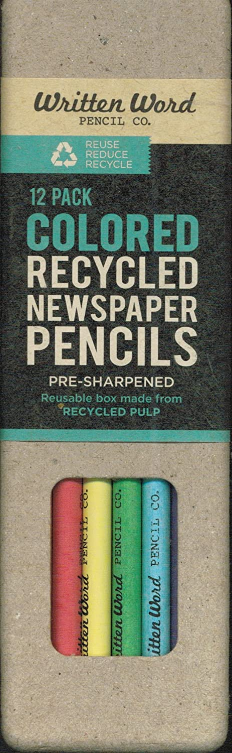 Written Word Colored Recycled Newspaper Pencils: 12-pack