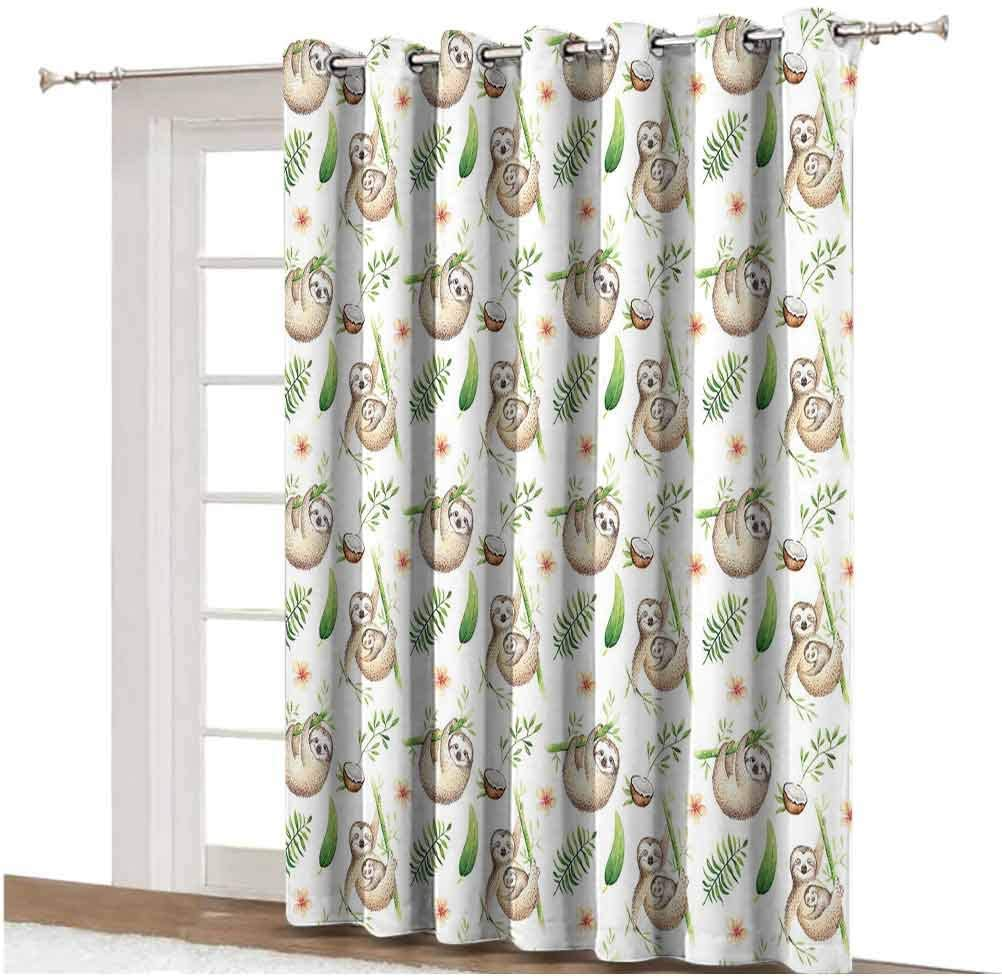 Sloth Sliding Door Curtain Baby Sloth and Mother Soft Colored Flowers Coconut Tree Leaves Happy Family Thermal Backing Sliding Glass Door Drape ,Single Panel 100x108 inch,for Glass Door Light Brown G