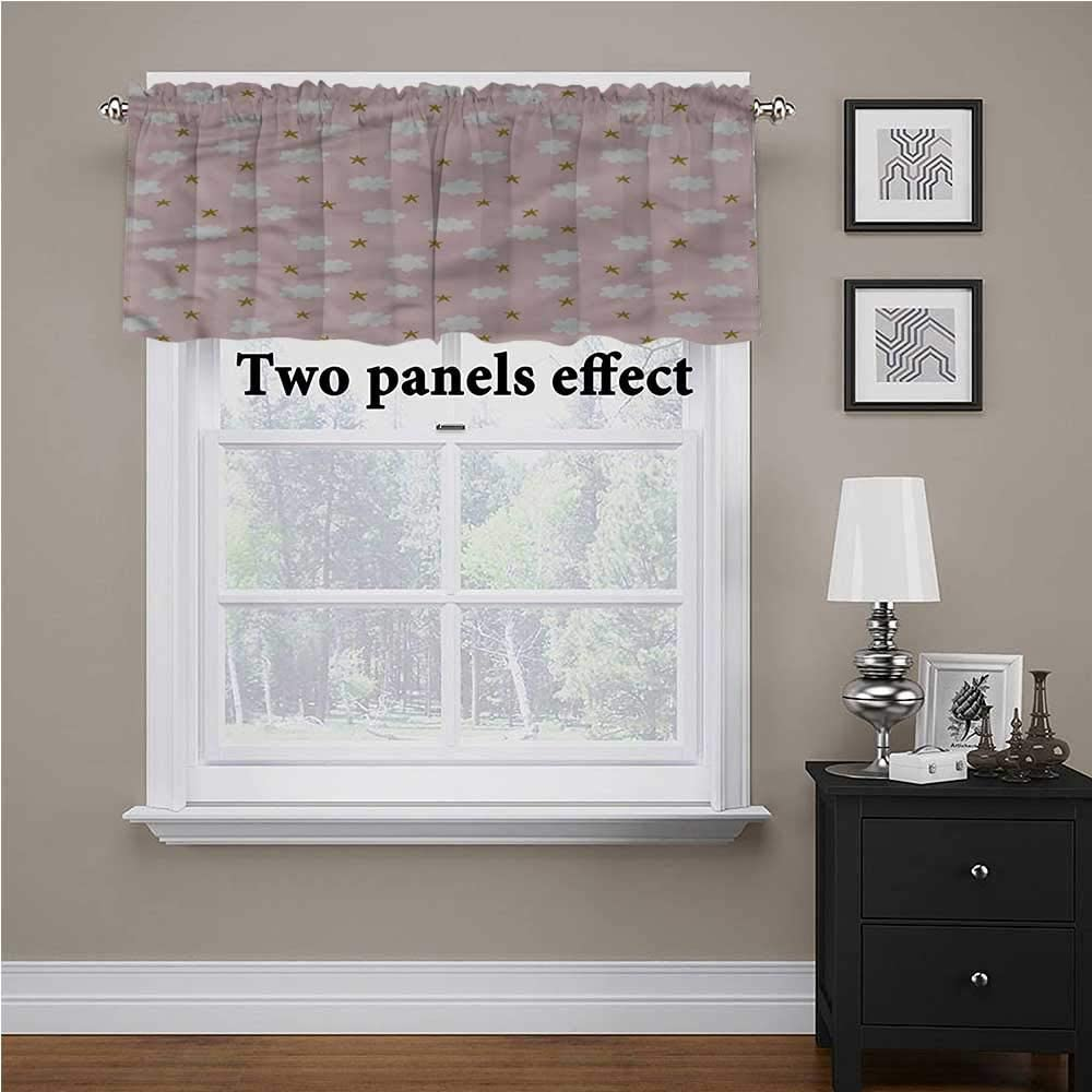 shirlyhome Baby Kitchen Curtains Stars and Clouds Pattern for Kids Room/Baby Nursery/Dormitory, 56 Inch by 14 Inch 1 Panel
