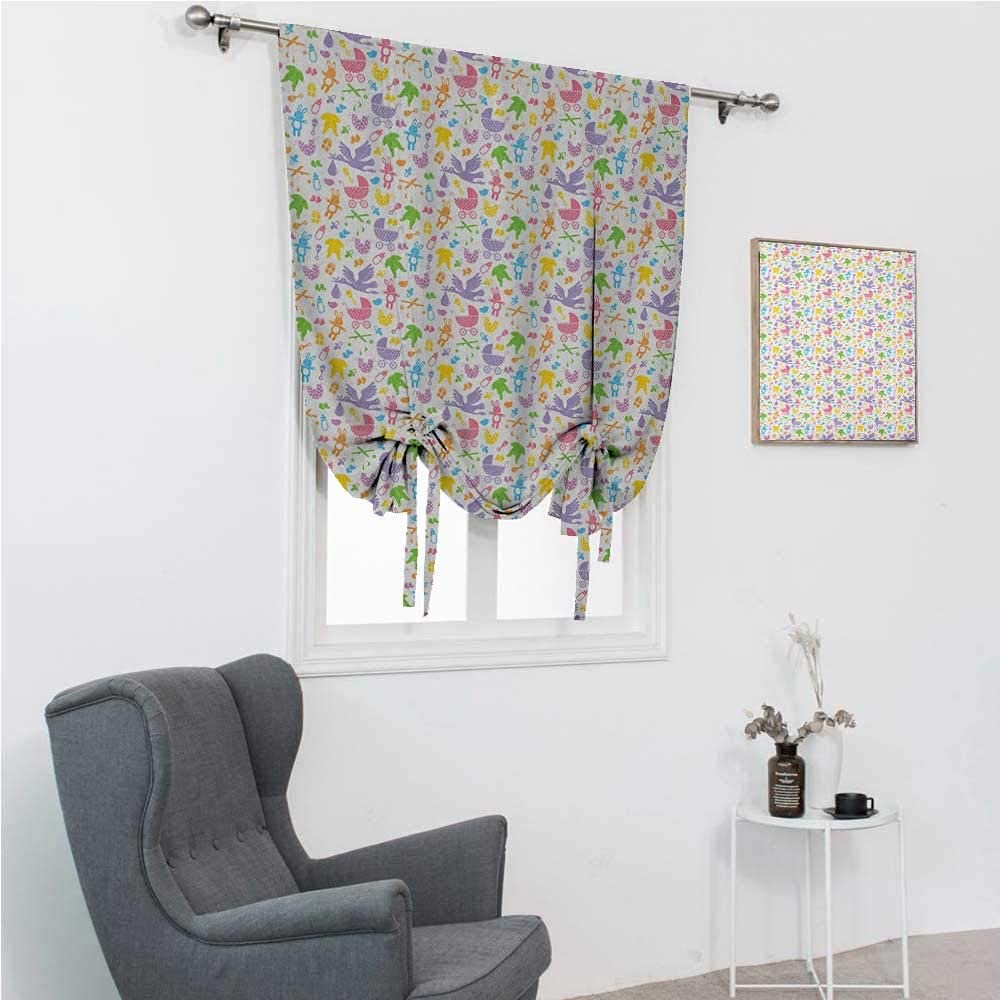 GugeABC Farmhouse Curtains for Living Room Baby Roman Window Shades for Window Stork with Newborn Bunny Toys Milk Bottles Infant Item Silhouettes Stroller Cartoon 48 Wide by 64 Long Multicolor