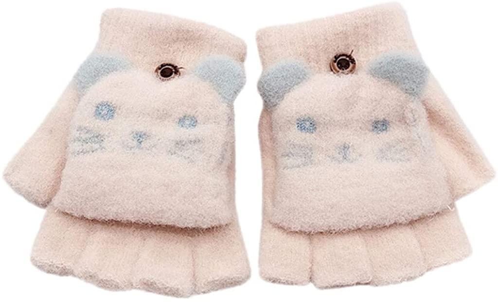 2/3Pairs Baby Toddler Kids Boy Girl Wool Winter Fall Spring Magic Fingerless Cartoon Cat Patchwork Gloves