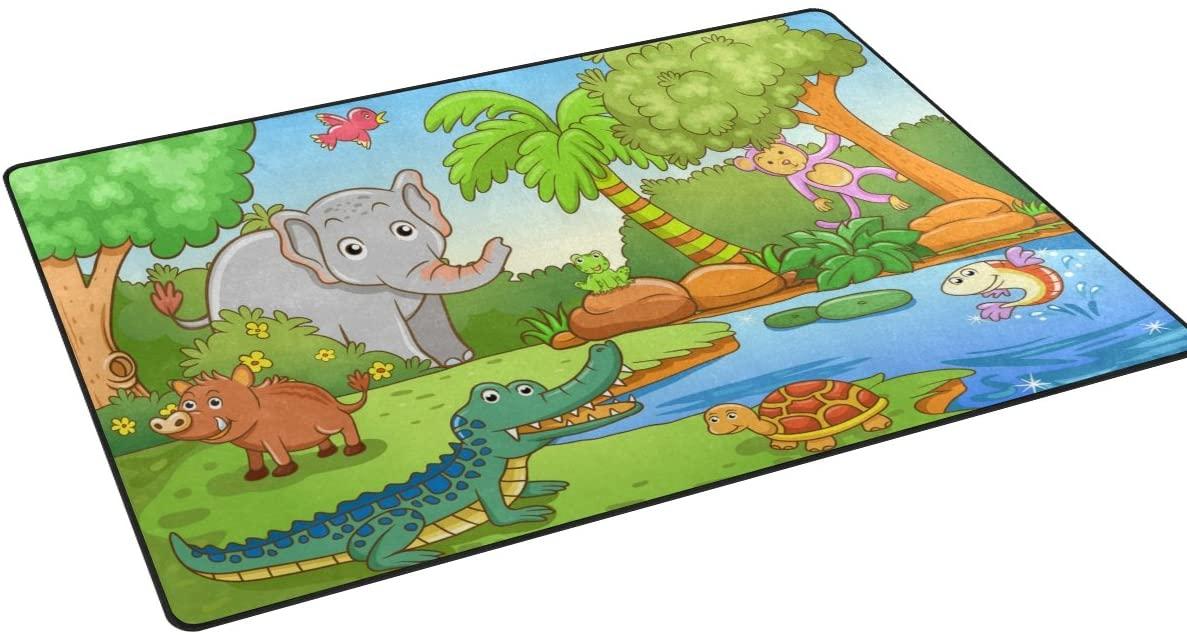 My Little Nest Cartoon Animals in Forest Kids Playroom Floor Mat Non Slip Soft Bedroom Door Mat Classroom Rug Carpet 20