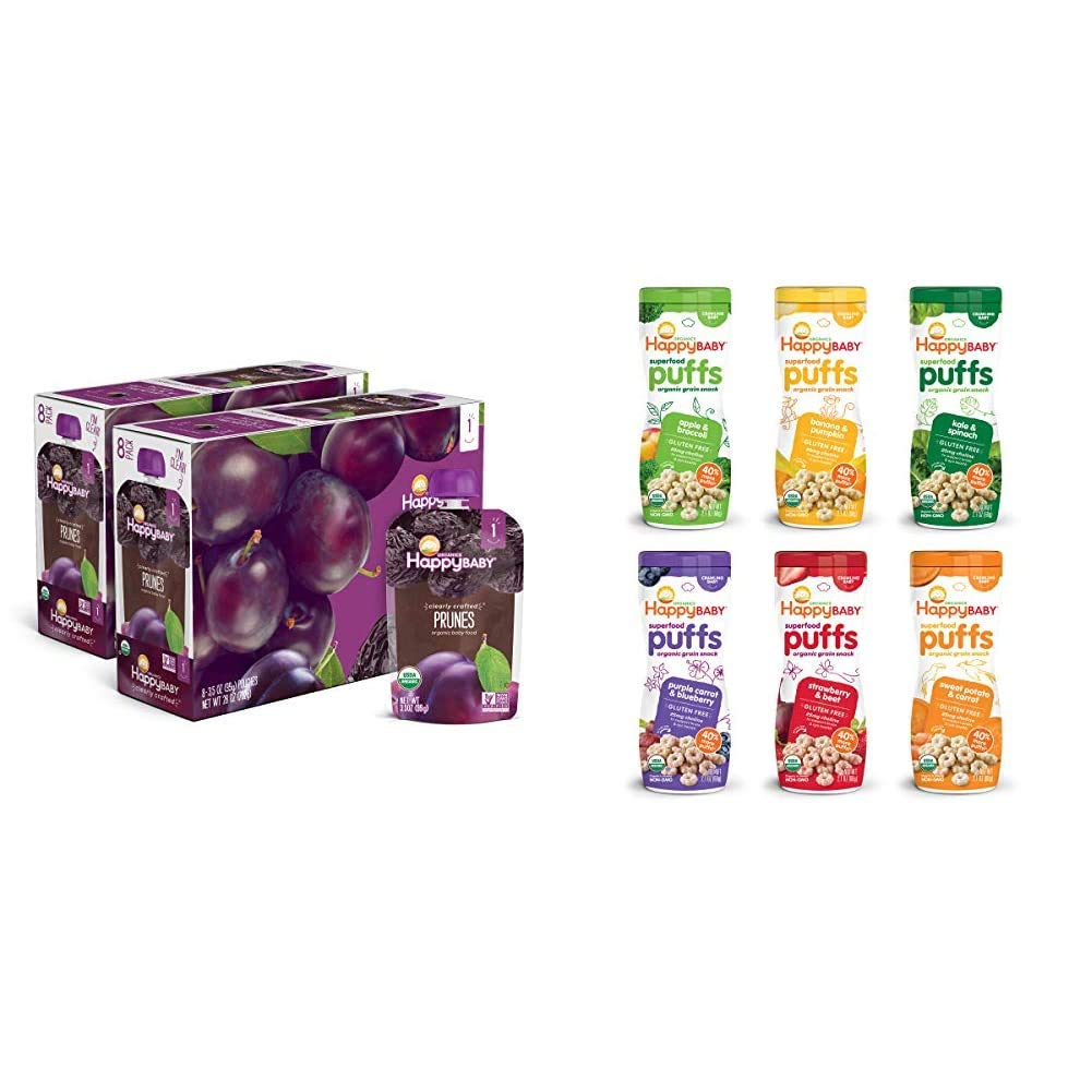 Happy Baby Organic Clearly Crafted Stage 1 Baby Food 1 Prunes, 3.5 Ounce Pouch, Pack of 16 & Happy Baby Organic Superfood Puffs Assortment Variety Packs 2.1 Ounce (Pack of 6)