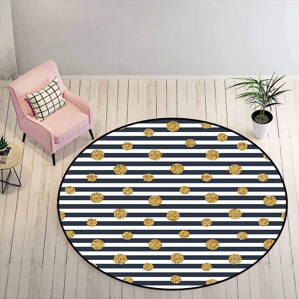 Kids Rugs for Bedroom Boys 2 ft Round - Gold and White Non-Slip Rug Thin Horizontal Lines with Circles Rounds Vintage Polka Dots, Navy Blue Yellow White