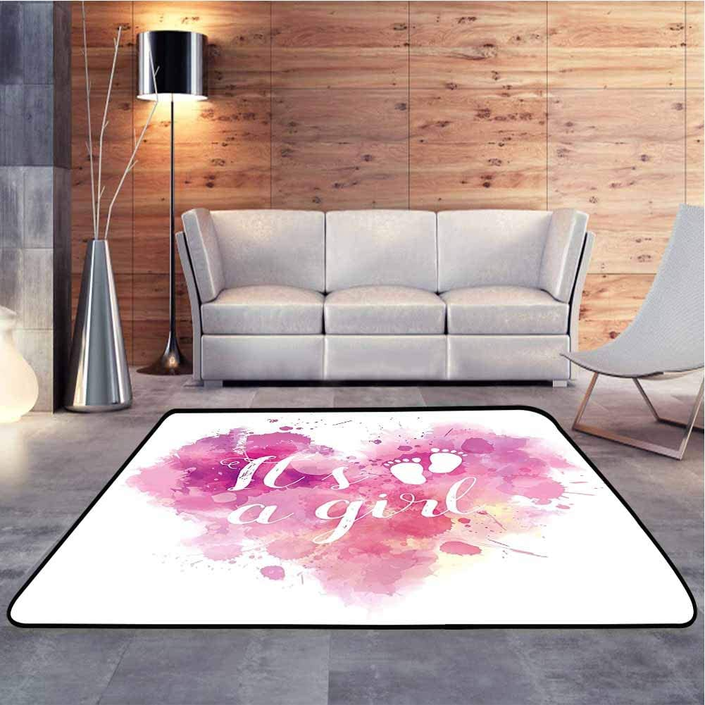 Multicolored Area Rug Heart Shaped Paintbrush Its A Girl Quote Baby Footprints Fuchsia Pink White Baby Floor Playmats Crawling Mat for Living Room Bathroom Enterway, 3 x 5 Feet