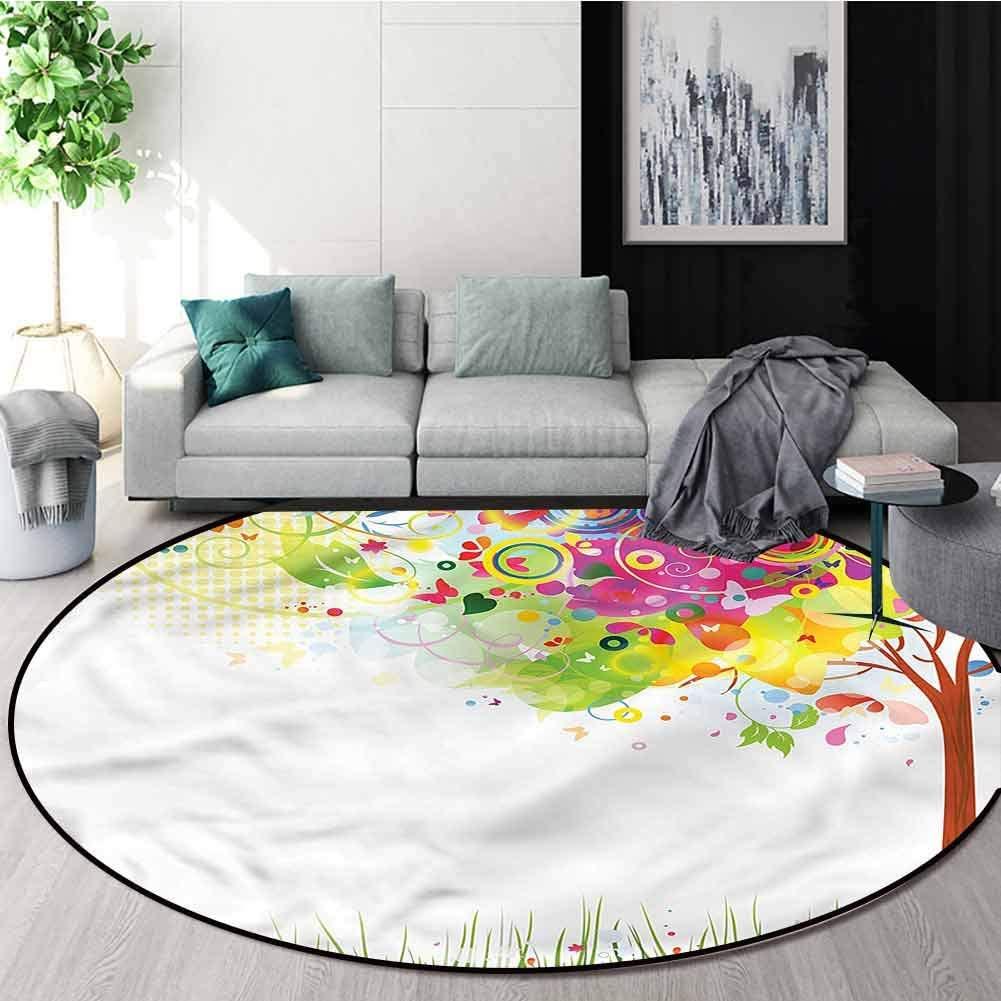 RUGSMAT Tree Round Rug Kid Carpet,Color Bursting Tree of Life Learning Carpet Non Skid Nursery Kids Area Rug for Playroom Round-24