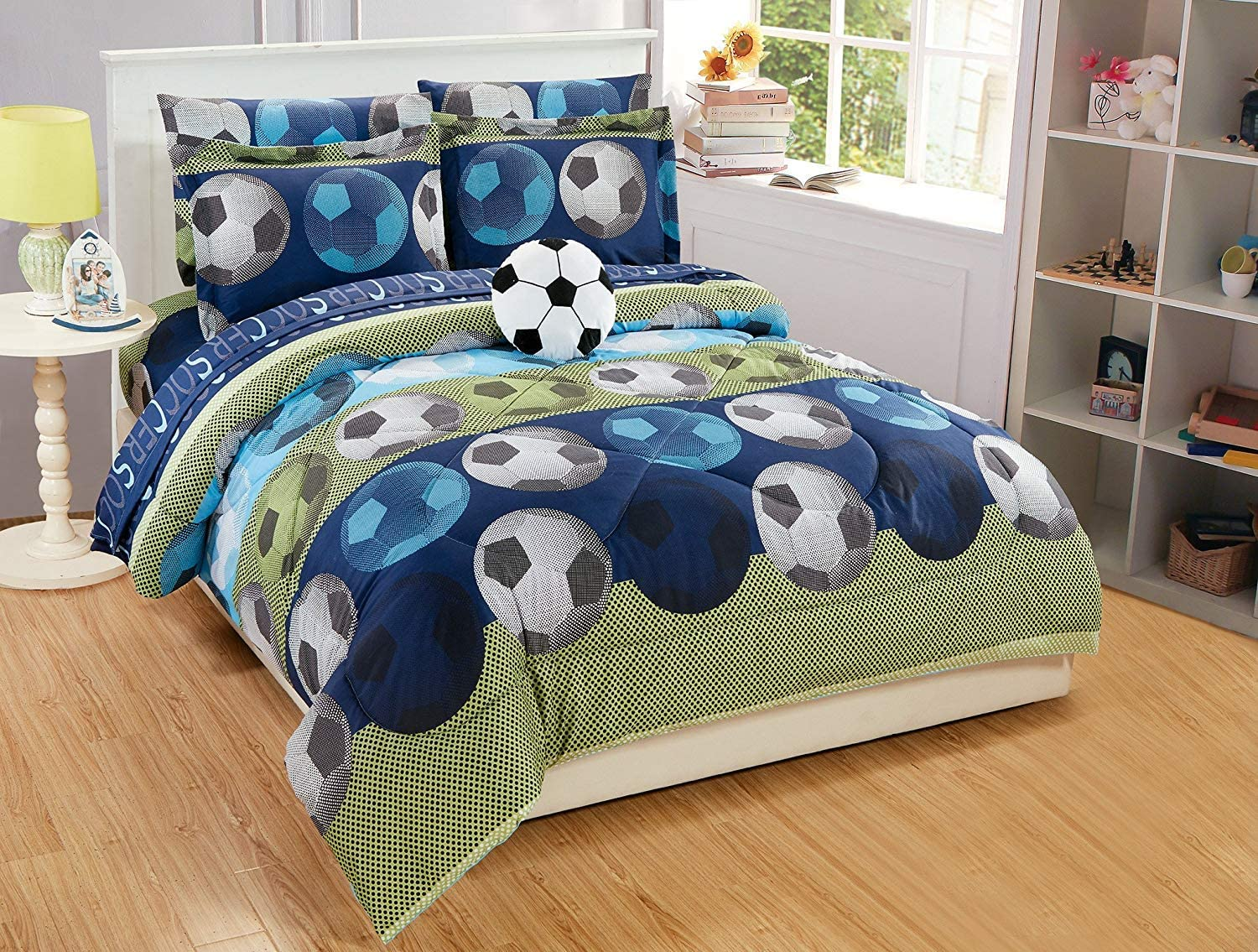 Elegant Home Blue Green Soccer Design 8 Piece Comforter Bedding Set for Boys/Kids Bed in a Bag with Sheet Set & Decorative Toy Pillow # Soccer (Full Size)