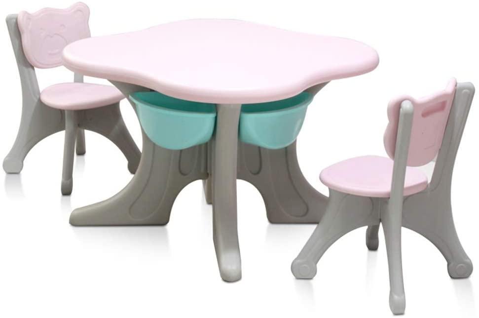 PUEEPDEE Childrens Table Chair Set Activity Table Child Table and Chair for Toddler Play Table/Baby Activity Table for Your Kids Kids Activity Table Set (Color : Pink, Size : 70x70/50x32cm)
