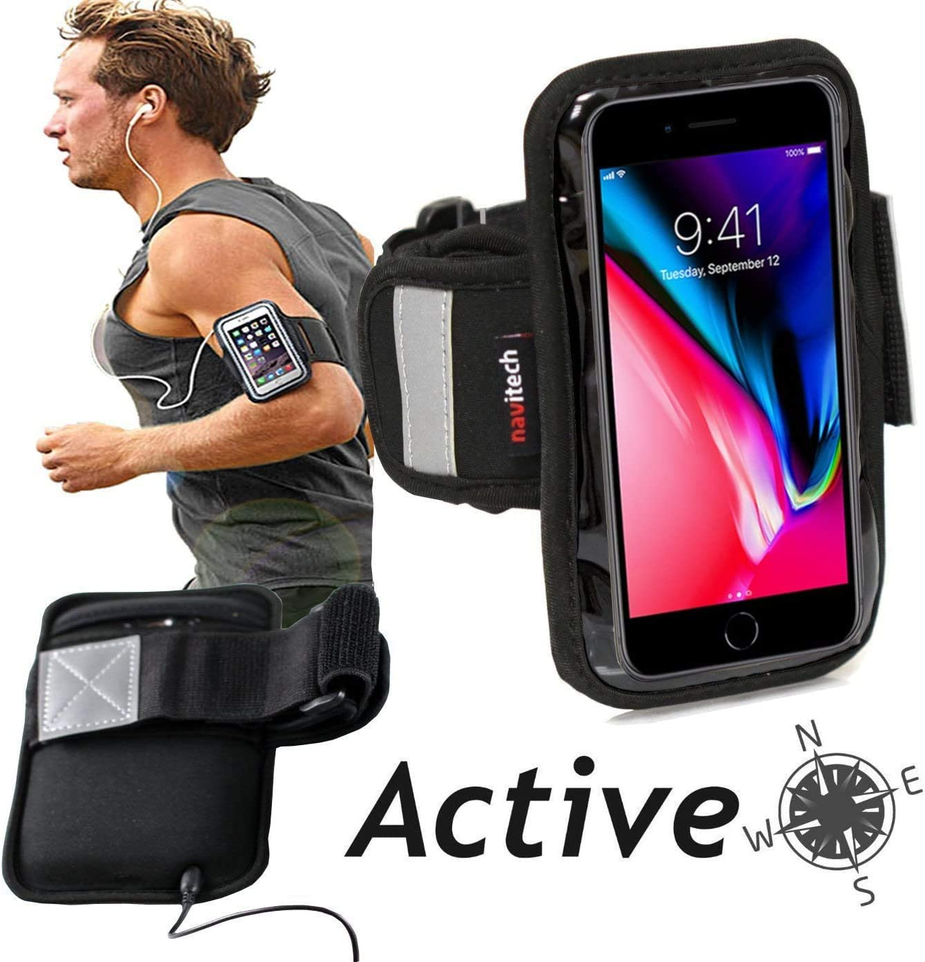 Navitech Black Running Armband - Compatible with The Samsung Galaxy A20s A207M/DS