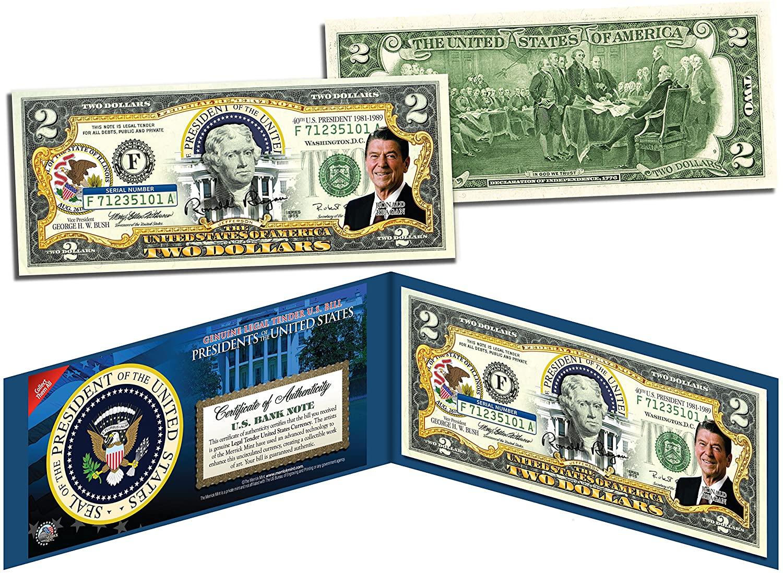 RONALD REAGAN * 40th U.S. President * Colorized $2 Bill US Genuine Legal Tender