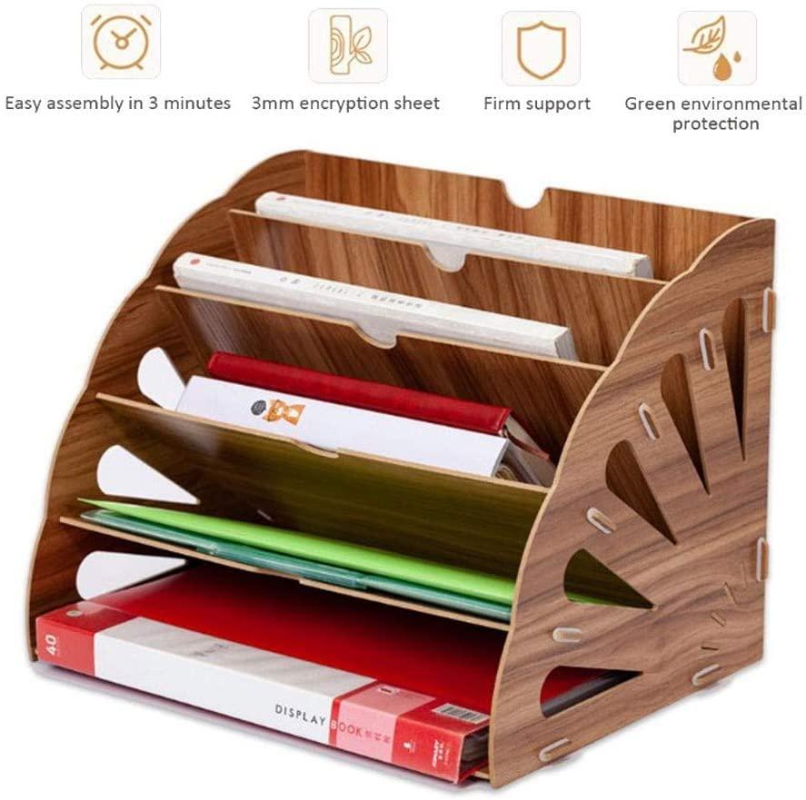 ERTYU Wooden Filing Trays, Multifunction DIY Desktop Document Tray File Racks Office Desk File Organiser for Office, School, Home