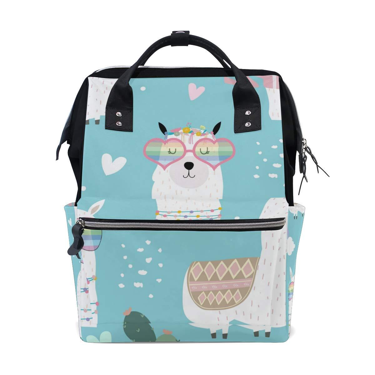 A Seed Backpack Baby Diaper Bag Blue Llamas Rainbow Cactus for Girls Women Tote Daypack Bookbag