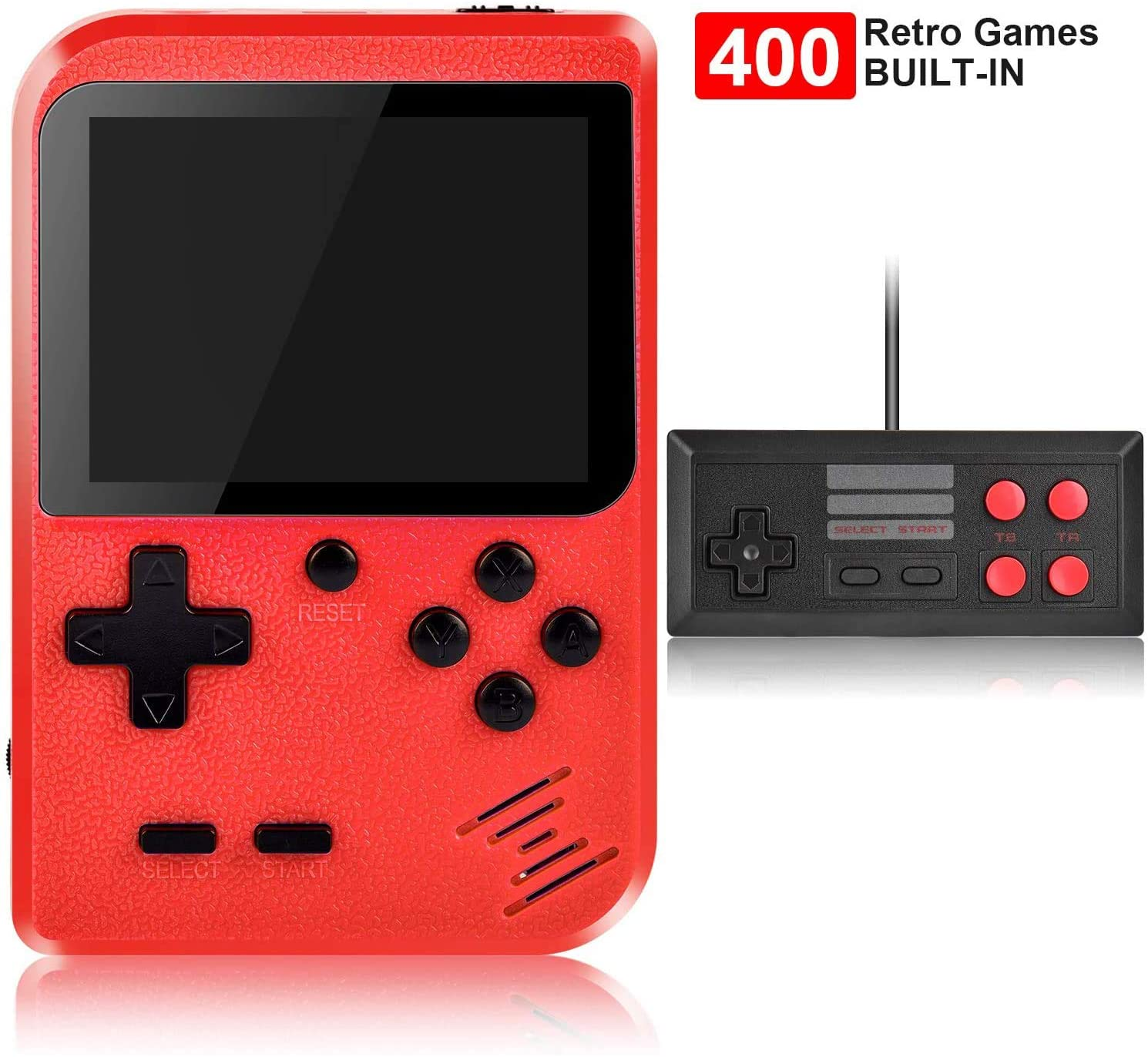 RCTOYS Handheld Game Console, Retro Game Console with 400 Classic Handheld Games, Supporting 2 Players & TV Connection, 800 mAh Rechargeable Battery