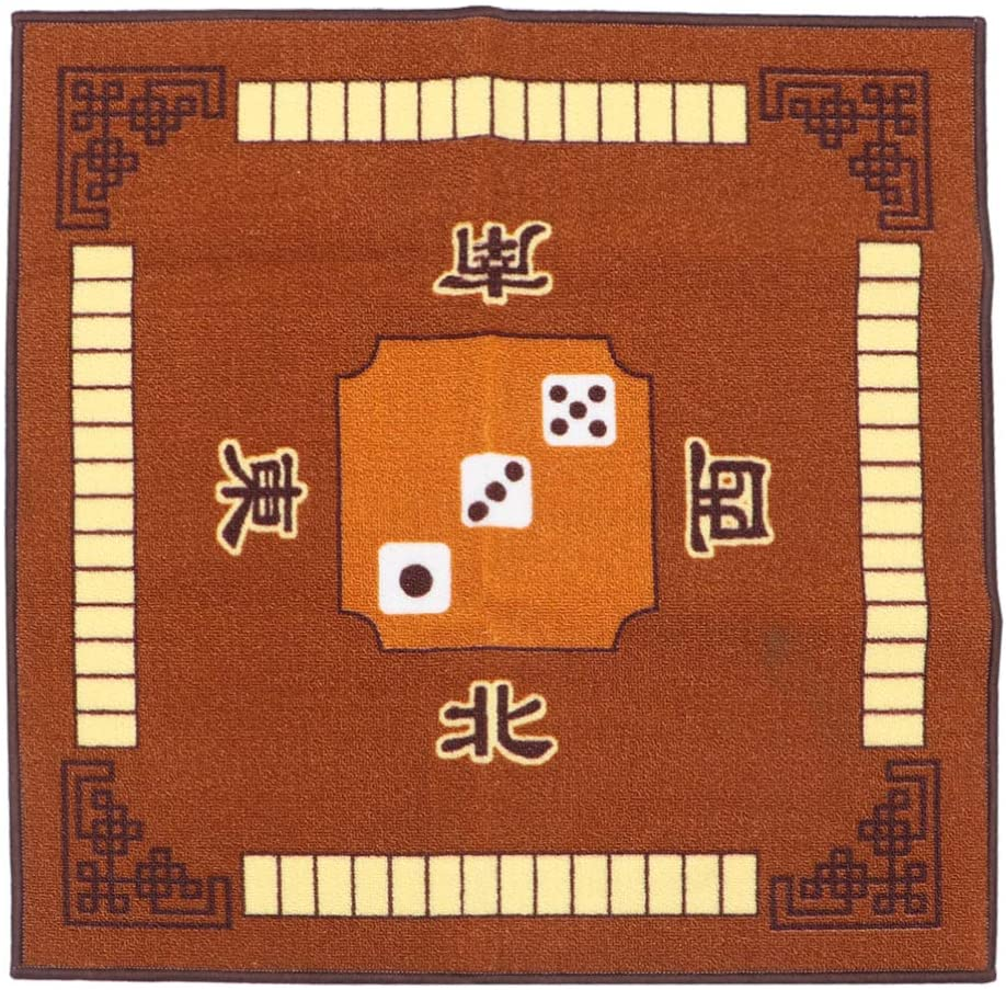 EXCEART Mahjong Table Cover Table Top Mat for Poker Card Games Board Games Tile Games Dominoes and Mahjong (Brown)