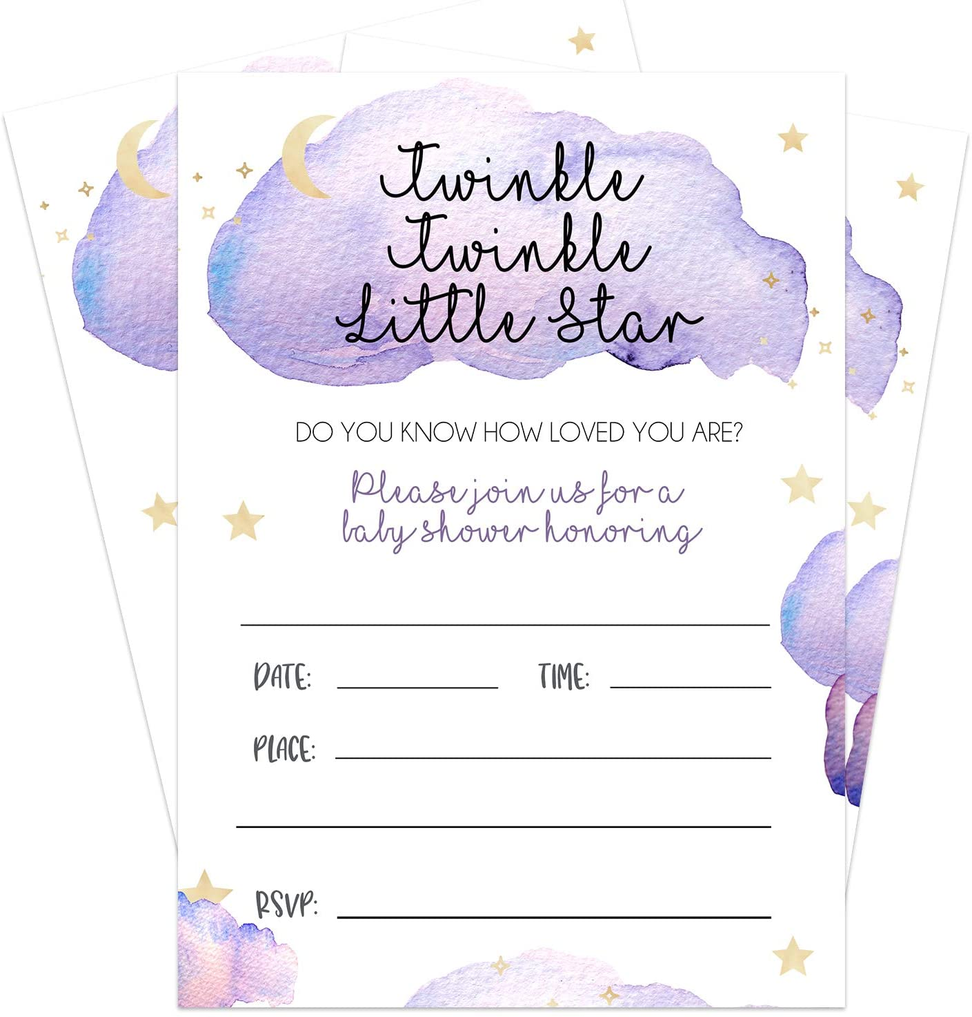 20 Twinkle Twinkle Little Star Invites - Fill In Baby Shower Invitations For Boy Or Girl Baby Shower