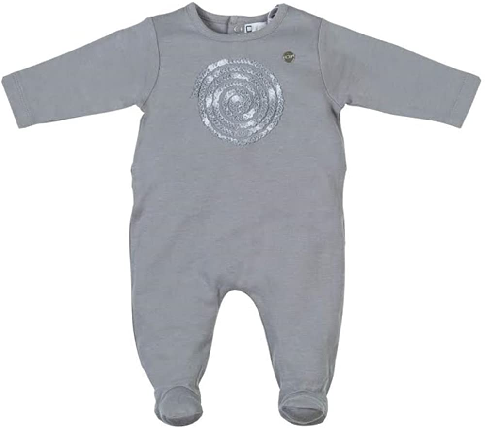 Cream Bebe Baby Footie 1 Pc Snug Fit PJ's 100% Soft Cotton - Grey
