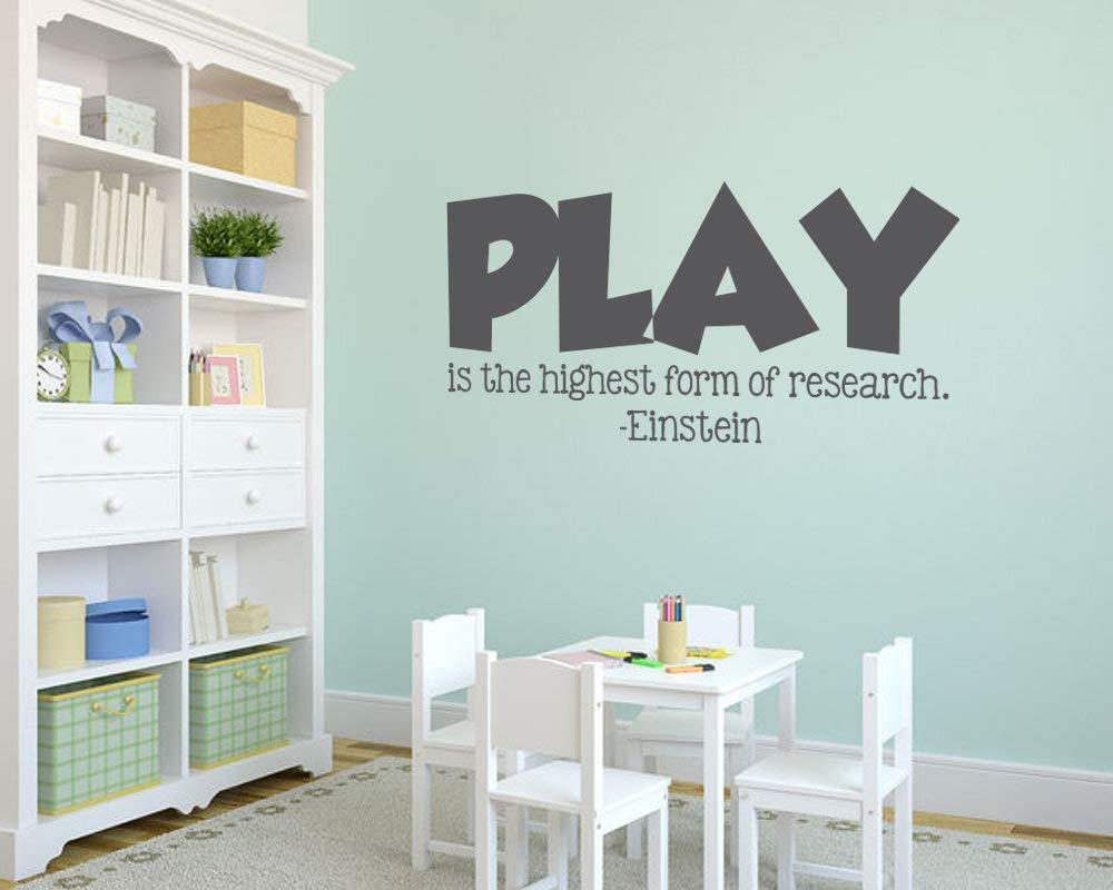 Playroom is The Highest Form of Research Playroom Wall Decal Einstein Quote Vinyl Wall Decal