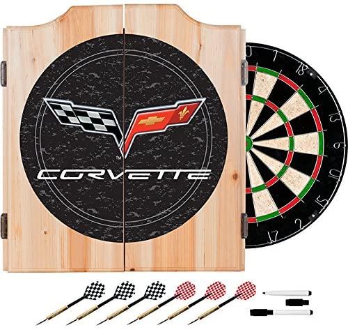 TMG Corvette C6 Design Deluxe Wood Cabinet Complete Dart Set - Includes 3 Bonus 23gm Darts!