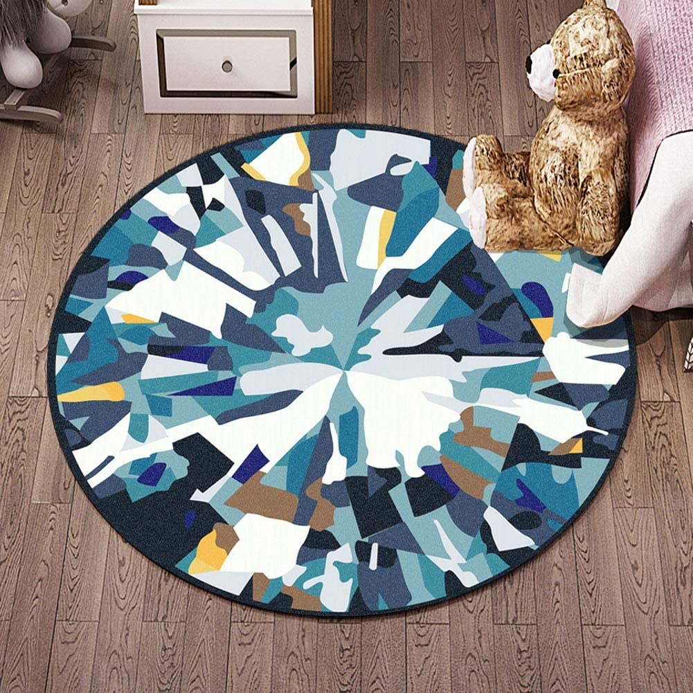 Chihen Children Round Rugs Nursery Circle Carpet Kids Play Mat Nursery Decor Baby Crawling Rug Teen Room Decor Multi Style (Color : Q, Size : 3'11''(120cm))