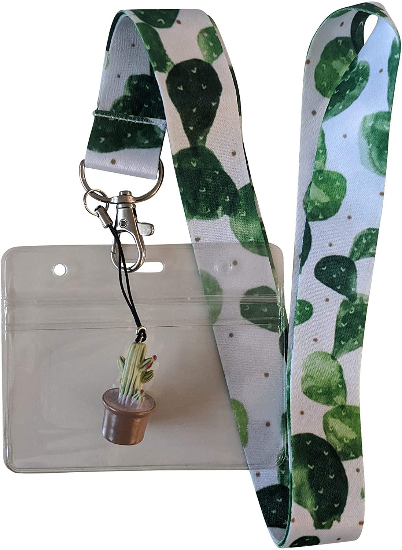 Real Cactus Print Lanyard w/ID Badge Holder and Charm (Horizontal)