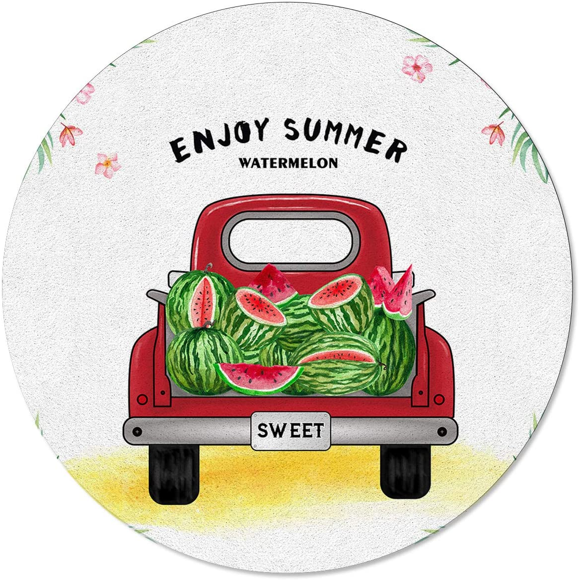 SunShine Day Modern Round Area Mats, Summer Style Red Carries Watermelons Large Rugs for Nursery Kids, Floor Mats for Any Entrance Or Exit 6 Feet