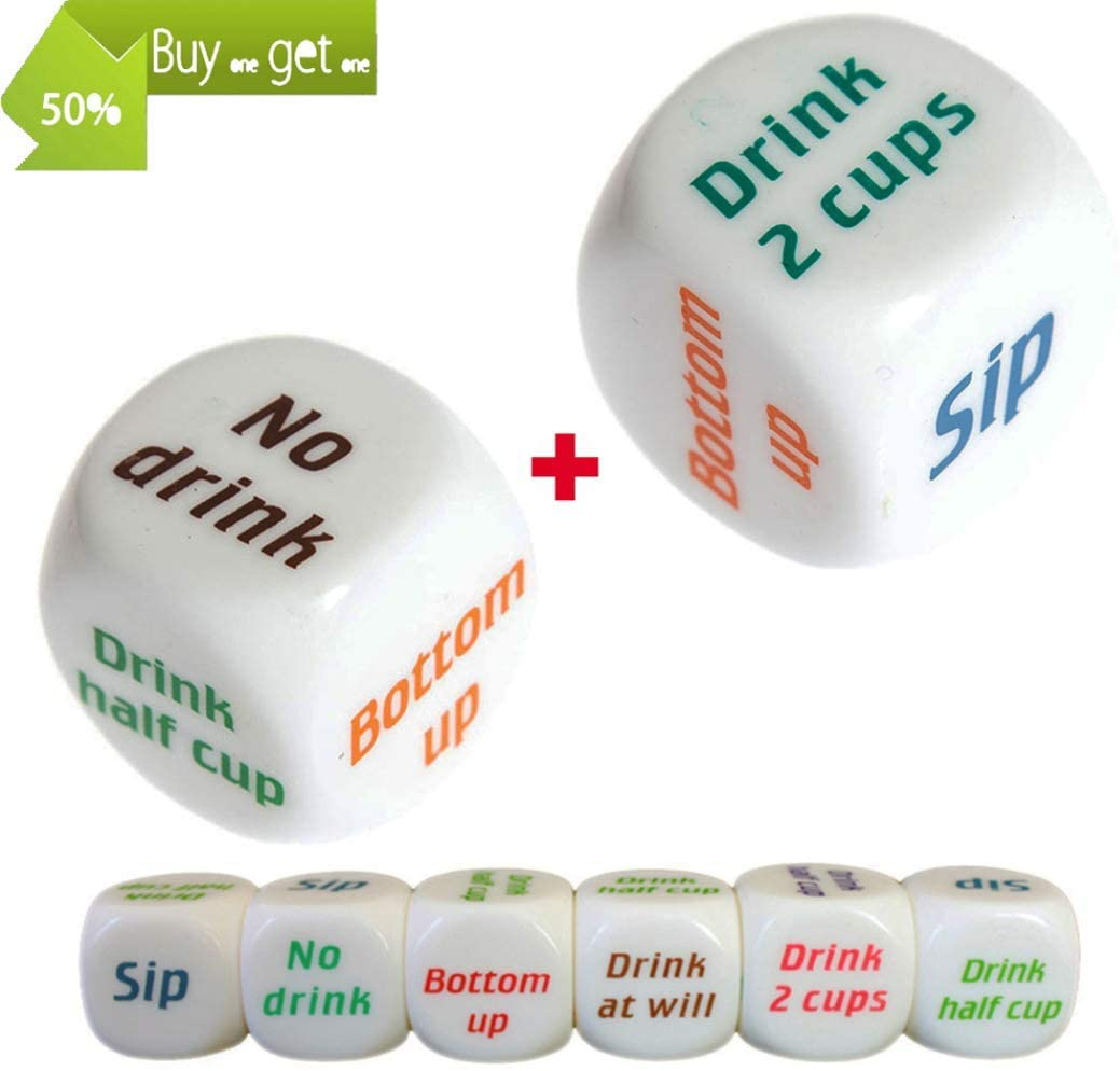 NiuChong 2Pcs Novelty Drinking Dice Game Rolling Decider Party Drunk Frenzy Party Game Bar Pub Adult Favor Toys/Bar Dice Supplies for Celebration Party Toys Love Products