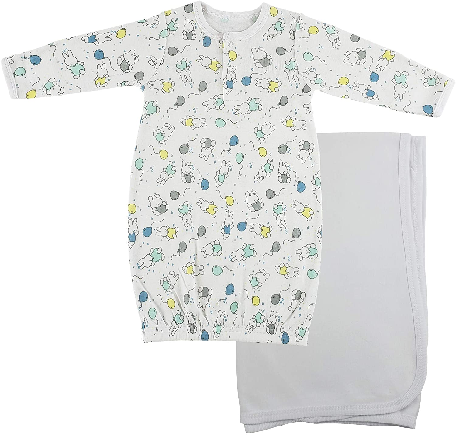 bambini Print Infant Gown and Recieving Blanket - Newborn