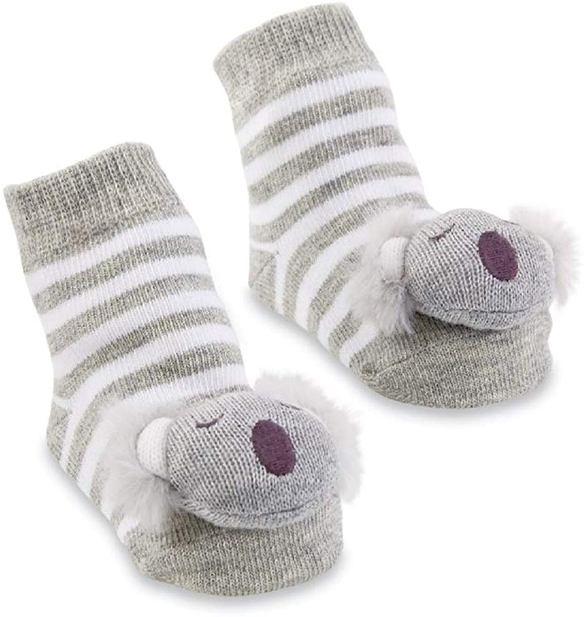Mud Pie Koala Rattle Toe Socks, Grey, White, 0-12M