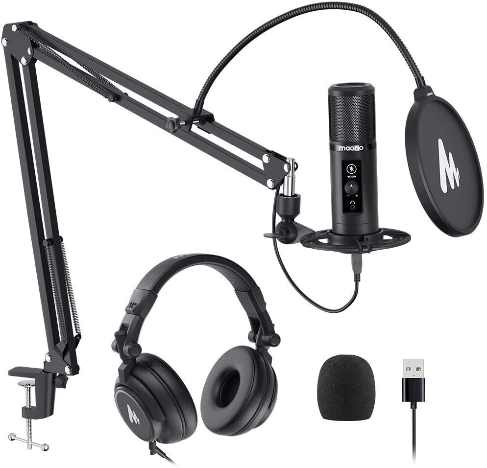 MAONO AU-PM422 USB Microphone with AU-MH601 Studio Monitor Headphones Bundle Plug and Play for Podcast, YouTube, Music…