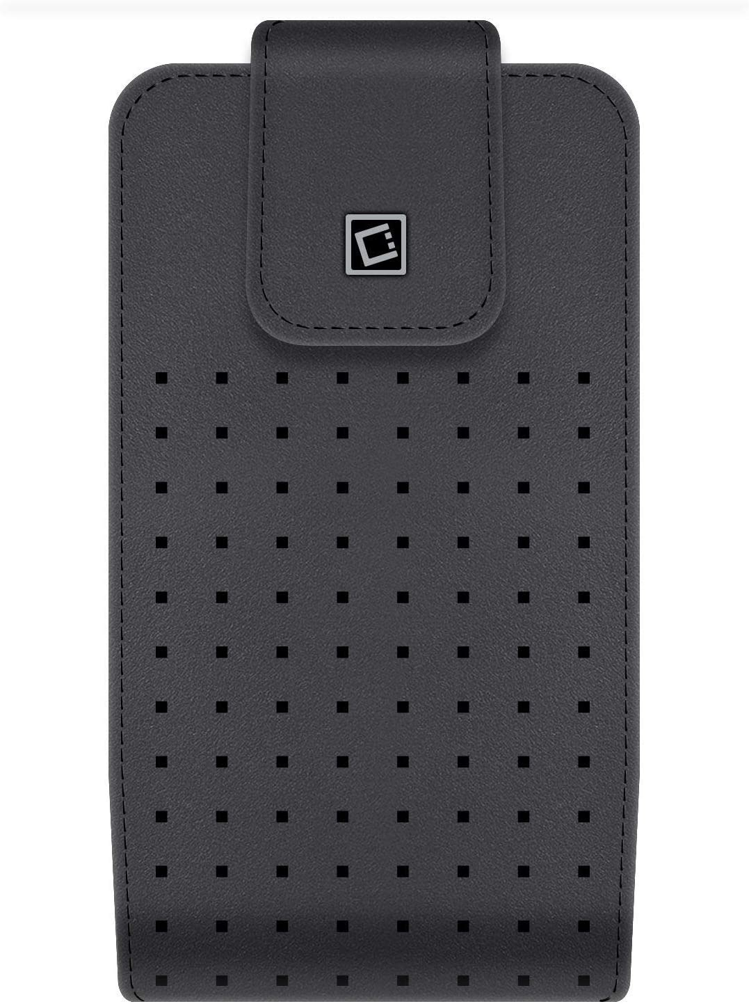 Cellet Teramo Holster Compatible with Samsung Galaxy A71- PU Classic Leather Vertical Belt Clip Phone Holder Pouch Case with Secure Magnetic Flip Cover, Swivel Clip and Atom Wipe - Black