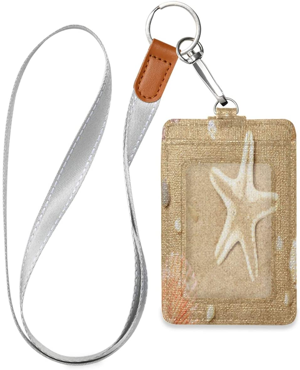 Vertical Id Badge Holders Leather with Lanyard for Women, Men, Credit Card Holder, Work Id, School Id, Office Id, Driver Licence, Metro Card, Access Card Cute Seashells and Starfish Beach