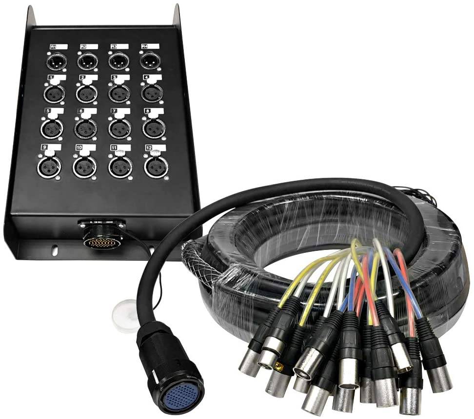 Seismic Audio - SAMP-12x4x50-12 Channel, 50 Foot XLR Snake Cable with Multi Pin Easy Disconnect Trunk for Recording, Stage, Studio use