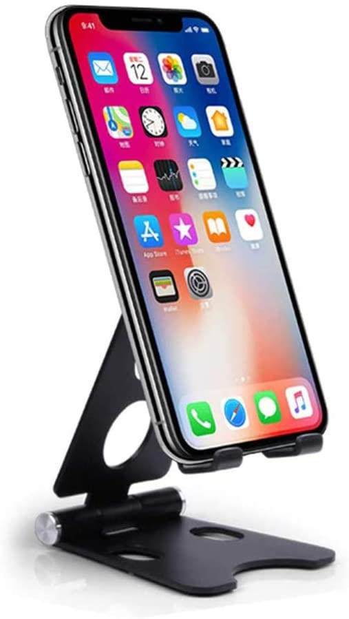 Cell Phone Stand Holder, Suta Adjustable Desktop Phone Stand Compatible with iPhone 11 Pro Xs Xs Max Xr X 8 7 6, iPad Mini, All Android Smartphones, Nintendo Switch, Tablets 7~10in (Black)