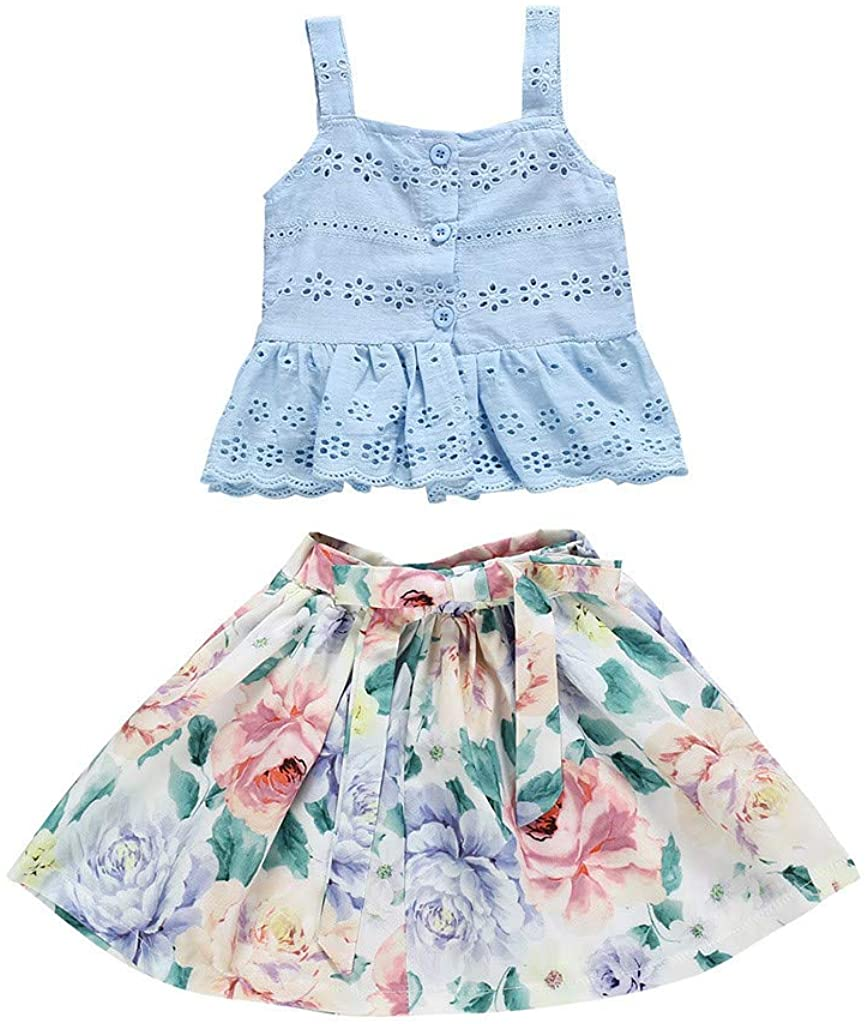 Baby Girls Summer Outfits Set,Toddler Baby Kids Girls Suspenders Lace Vest Floral Bow Skirts Outfits Set