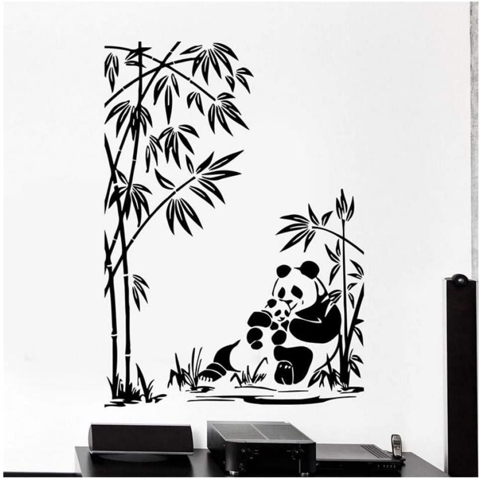 Diuangfoong Panda Family Wall Decal Animals Bamboo Jungle Vinyl Window Stickers Baby Room Nursery Kids Bedroom Home Decor Art Wallpaper