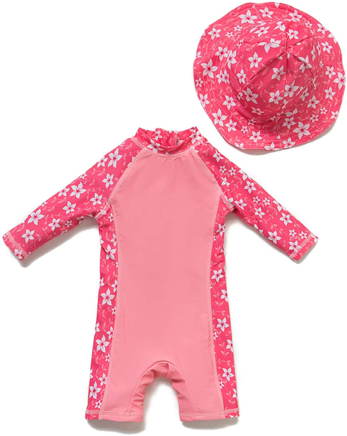 Baby Girl Bathing Suit L/S UPF 50+ Sun Protection Come with a Hats