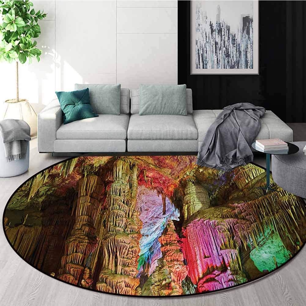 RUGSMAT Natural Cave Round Rug,Colorful Geological Cistern Rainwater Harvest Luminous Reflections Picture Carpet Door Pad for Bedroom/Living Room/Balcony/Kitchen Mat,Diameter-71 Inch
