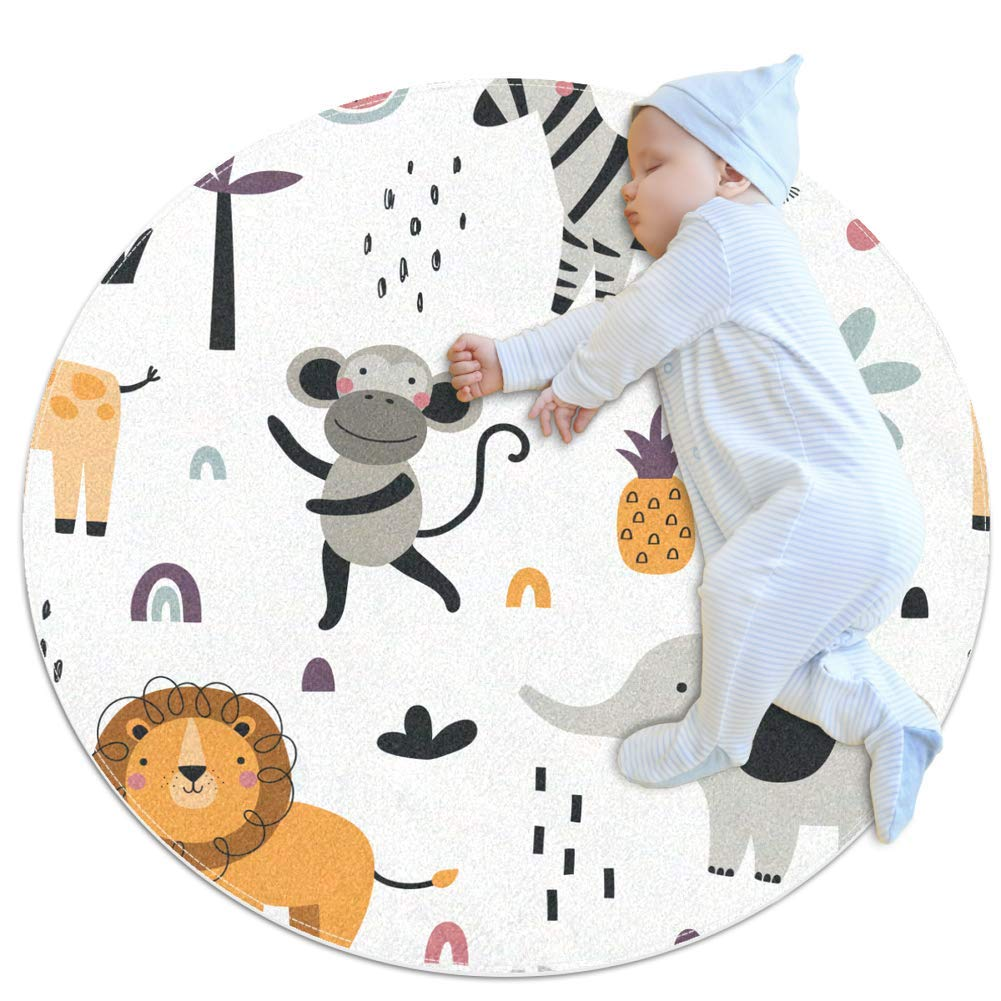 Nursery Rug Cartoon Lion Elephant Baby Round Rug Soft Crawling Mat Non-Slip Play Mat for Kids Children Toddlers 39.4x39.4 inches